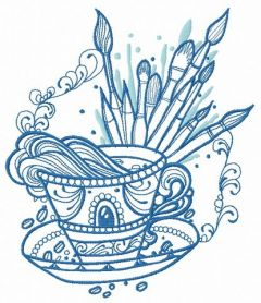 Cup with inspiration embroidery design