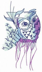 Curious owl embroidery design