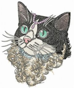 Curly cat embroidery design