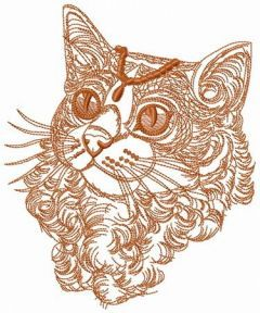 Curly cat one color embroidery design