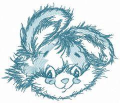 Cute rabbit blue muzzle embroidery design