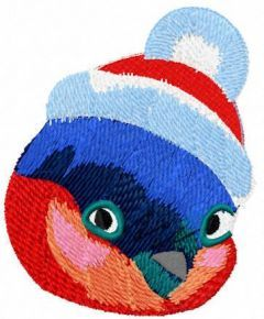 Cute Christmas bullfinch free embroidery design