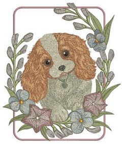 Cute Cocker Spaniel puppy embroidery design
