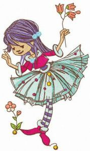 Cute elf collects flowers embroidery design