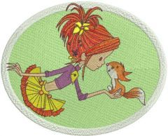 Cute girl and squirrel embroidery design