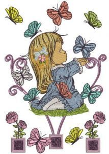 Cute girl playing with butterflies 2 embroidery design