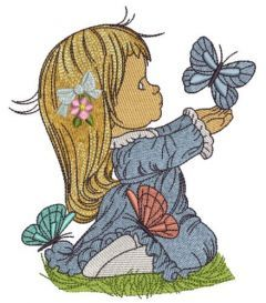Cute girl playing with butterflies 3 embroidery design