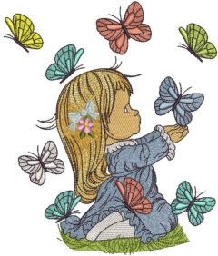 Cute girl playing with butterflies embroidery design