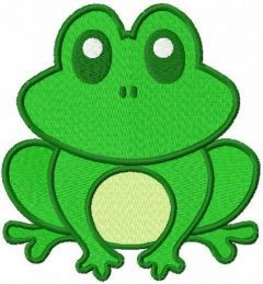 Cute green frog free embroidery design