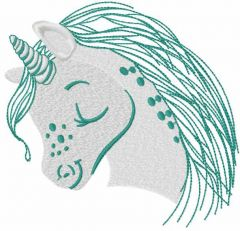 Cute grey unicorn embroidery design