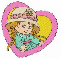 Cute little girl 3 embroidery design