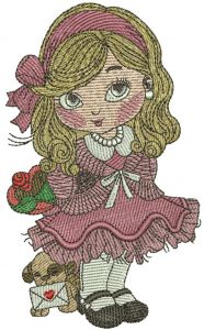 Little cute girl 5 embroidery design