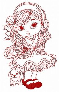 Little cute girl 6 embroidery design