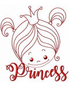 Cute little princess embroidery design