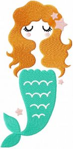 Cute mermaid free embroidery design