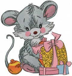 Cute mouse with gift box embroidery design