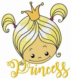 Cute princess face embroidery design