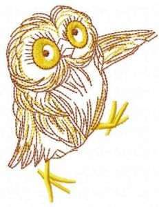 Cute small dancing owl embroidery design