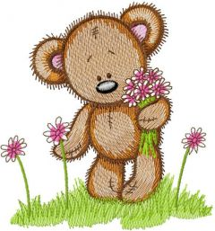 Cute Teddy collect flowers embroidery design