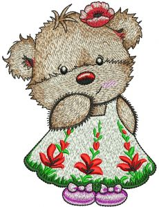Cute Teddy girl embroidery design