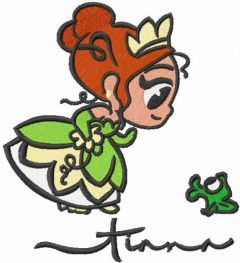 Cutie Teana and frog embroidery design
