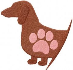 Dachshund love embroidery design