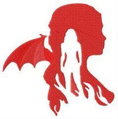 Daenerys Targaryen silhouette embroidery design