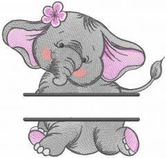 Dancing elephant monogram embroidery design