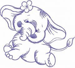 Dancing elephant one colored embroidery design