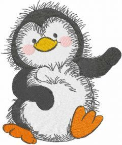 Dancing penguin embroidery design