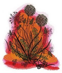 Dandelions in the evening embroidery design
