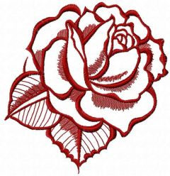 Dark red rose 3 embroidery design