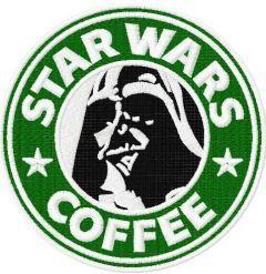 Darth Vader coffee embroidery design