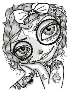 Dead girl with cupcake tattoo embroidery design