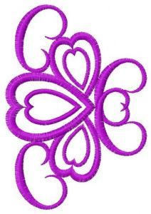 Decoration with hearts embroidery design