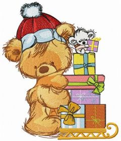 Delivery of Christmas gifts embroidery design