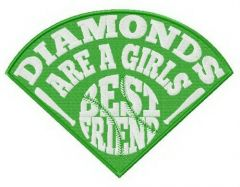 Diamonds are girl's best friend fan embroidery design