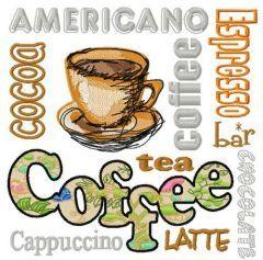 Different coffee machine embroidery design