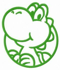 Dinosaur Yoshi badge embroidery design