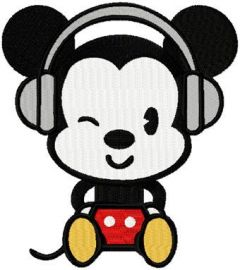 Mickey likes Music embroidery design