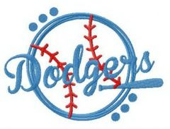 Dodgers fan logo embroidery design