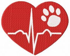 Dog heart beat embroidery design