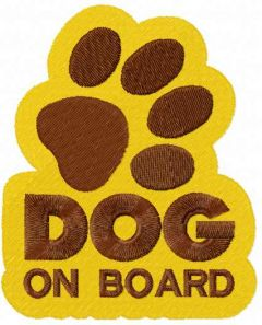 Dog on board embroidery design