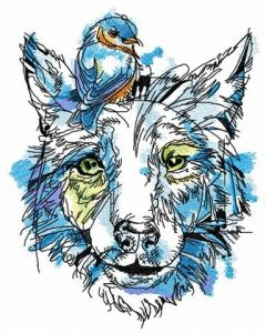 Dog with goldfinch on head embroidery design