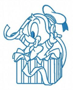 Donald with ribbon 2 embroidery design