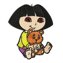 Dora the Explorer with Bear embroidery design