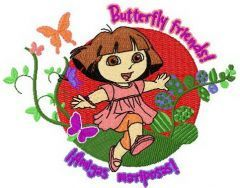 Dora butterfly friends embroidery design