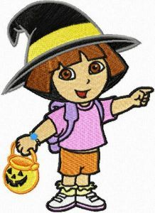 Dora the Explorer Halloween embroidery design
