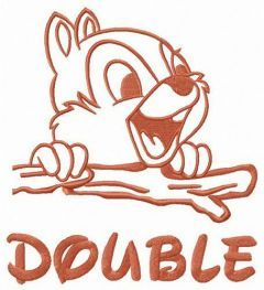 Double chipmunk embroidery design