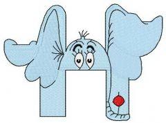 Dr. Seuss alphabet letter H embroidery design